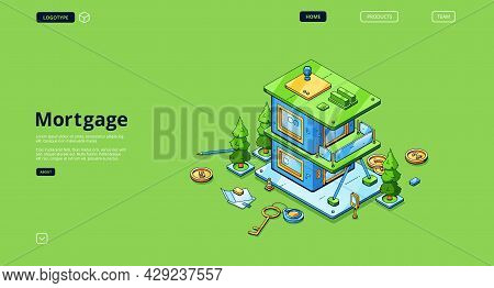 Mortgage Banner. Concept Of Loan For Home Purchase, Buy House With Credit Money. Vector Landing Page