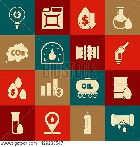 Set Broken Metal Pipe With Leaking Water, Barrel Oil, Gasoline Pump Nozzle, Drop Crude Price, Motor