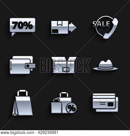 Set Carton Cardboard Box, Shoping Bag With Discount, Credit, Man Hat Ribbon, Paper Shopping, Wallet,