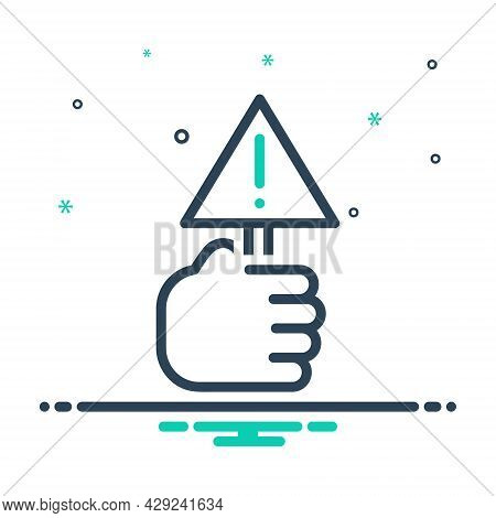 Mix Icon For Warn Caution Notify Alert Sign Warning Information Exclamation Hold Hand