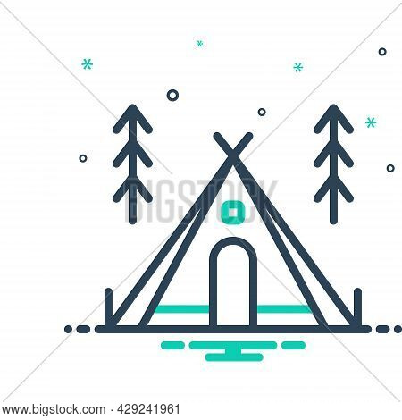 Mix Icon For Camp Tent Cantonment Compass Picnic Travel Summer Vacation Holiday