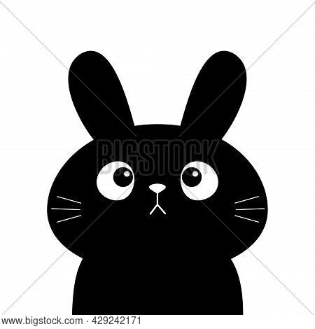 Black Buny Rabbit Hare Silhouette Icon. Cute Kawaii Cartoon Character. Happy Easter Valentines Day.