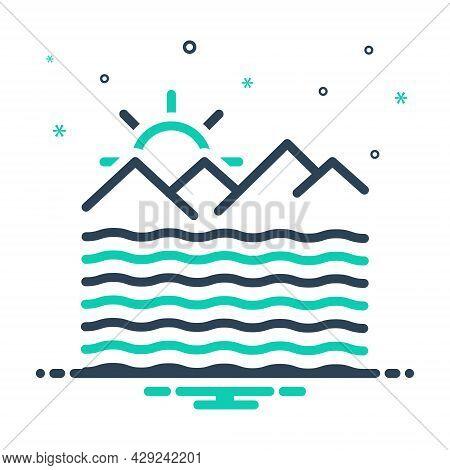 Mix Icon For Ocean Briny Sea Deep Mare Saline Sand River Mountain Alkalescent Ocean-wave Mountaion S
