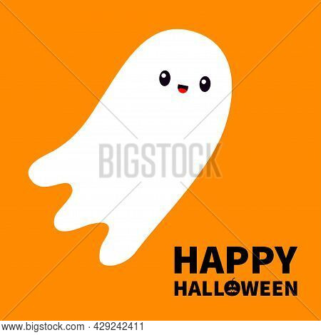 Happy Halloween. Flying Ghost Spirit. Scary White Ghosts. Cute Cartoon Spooky Character. Smiling Fac
