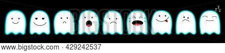 Cute Ghost Set Line. Emoji Icon. Happy Halloween. Emoticons. Funny Kawaii Cartoon Characters. Scary