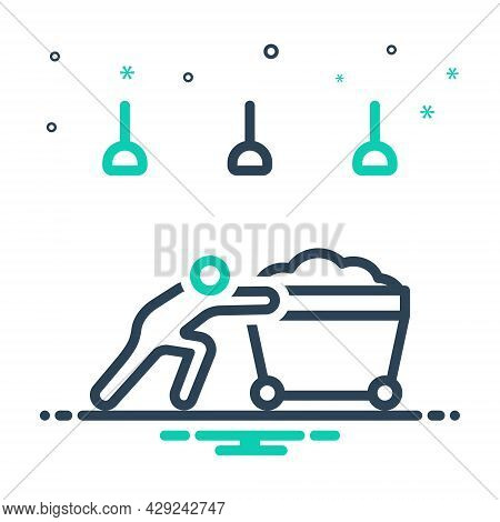 Mix Icon For Hardly Labour Effort Endeavour Barely Laboriously Push Cart