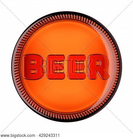 Bottom Of A Amber Glass Bottle With Word Beer Isolated On White Background. 3d Rendering Illustratio