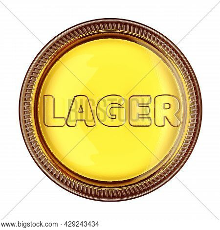 Bottom Of A Yellow Glass Beer Bottle With Word Lager Isolated On White Background. 3d Rendering Illu