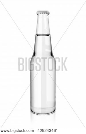 Clear Glass Drink Soda Clean Water Without Label. Mock Up Template Presentation. 3d Rendering Illust