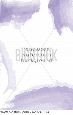 Watercolor Frame Template With Copy Space, Abstract Translucent Water Color Brush Strokes. Vertical