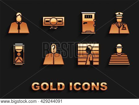 Set Anonymous With Question Mark, Police Officer, Prisoner, Suspect Criminal, Old Hourglass Sand, Ce