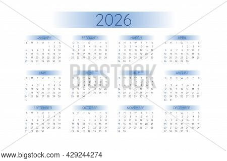 2026 Pocket Calendar Template In Strict Minimalistic Style With Blue Gradient Elements, Horizontal F