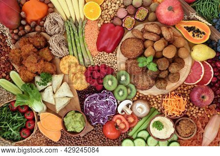 Vegan food for ethical eating with plant based foods high in antioxidants, protein, minerals, fibre, anthocyanins, vitamins, omega 3 and carotenoids. Can  lower cholesterol and blood pressure.