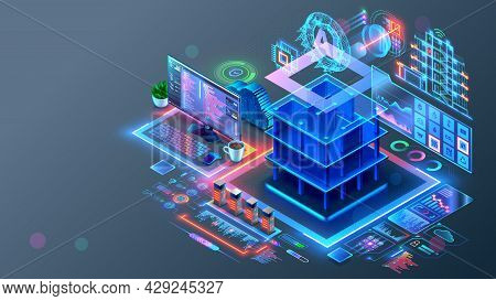 Smart House System Programming Software. Engineering Development Of Building Construction, Communica