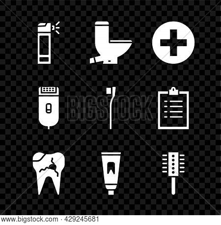 Set Bottle With Nozzle Spray, Toilet Bowl, Cross Hospital Medical, Broken Tooth, Tube Of Toothpaste,
