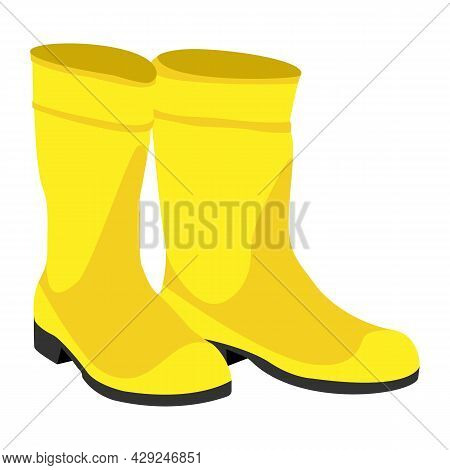 Cartoon Yellow Rubber Rain Boots, Clean And Dirty With Mud Puddle. Vector Clip Art Illustration