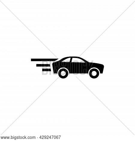 Fast Sport Car, Faster Vehicle, Auto. Flat Vector Icon Illustration. Simple Black Symbol On White Ba