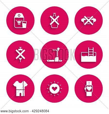 Set Treadmill Machine, Sun, Smart Watch, Swimming Pool With Ladder, Sport Track Suit, No Doping Syri