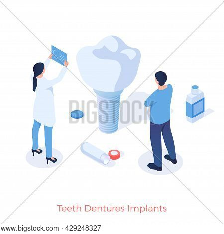 Teeth Dental Implants. Orthodontist Test New Artificial Tooth For Quality. Modern Medical Technologi
