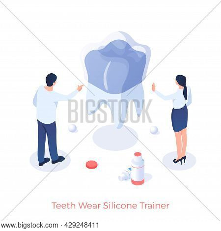 Silicone Trainer Against Tooth Wear. Installation Dental Pad Exerciser. Elimination Of Abrasion Toot