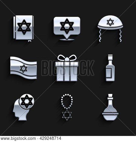 Set Gift Box, Star Of David Necklace On Chain, Jewish Wine Bottle, Orthodox Jewish Hat, Flag Israel,