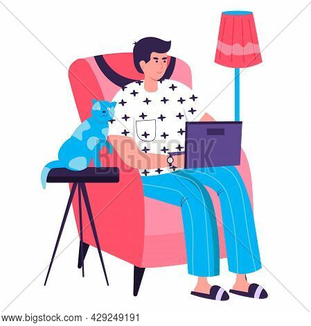 Freelancer Working At Home Office Concept. Man Sitting With Laptop In Chair. Freelance Workplace, Re