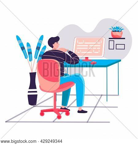 Programmer Working At Office Concept. Man Coding Code, Creating And Testing Scripts. Software And Pr