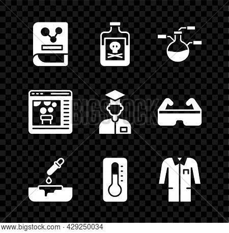 Set Chemistry Book, Poison In Bottle, Test Tube And Flask, Petri Dish With Pipette, Medical Thermome