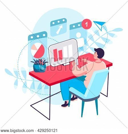 Business Process Concept. Analyst Analyzes Data, Man Works With Statistics At Computer. Optimization