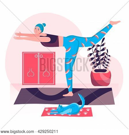 Fitness Workout Concept. Woman Doing Yoga Asana Together With Cat At Home. Active Sport, Wellness, B