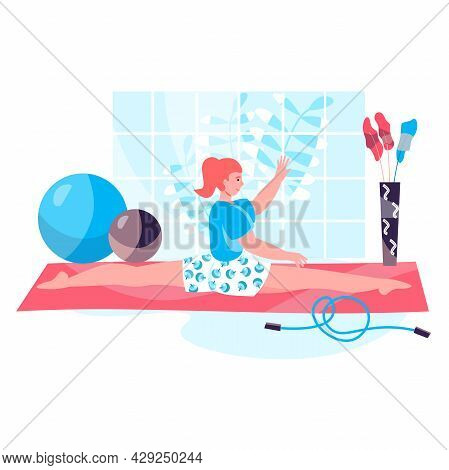 Fitness Workout Concept. Woman Sitting In Twine And Doing Gymnastic Exercises. Active Sport, Wellnes