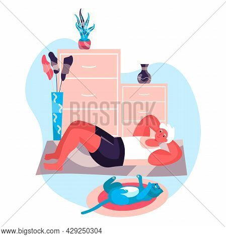 Fitness Workout Concept. Man Exercises Press Lying On Floor With Cat. Active Sport, Wellness, Body T