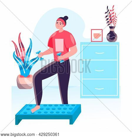 Fitness Workout Concept. Woman Doing Step Aerobics And Exercising With Dumbbells. Active Sport, Well