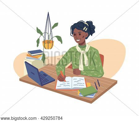 Preteen Schoolgirl Doing Homework With Laptop At Home Isolated Flat Cartoon Character. Vector Child