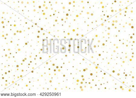 Gold Glitter Classic Circle Confetti Background. Golden Dust, Flying Circle Yellow And Brown Confett