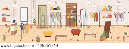 Interior Of Woman Shopping Footwear, Cloth And Accessories Store Flat Cartoon Illustration. Vector E