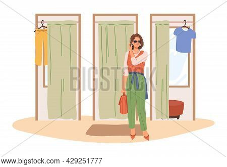 Fitting Rooms In Shopping Mall, Woman Came Out From Trying Room In Fashionable Cloth, Happy Shopahol