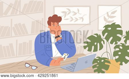 Happy Person With Bank Card And Laptop During Online Shopping. Enthusiastic Man With Computer Buying