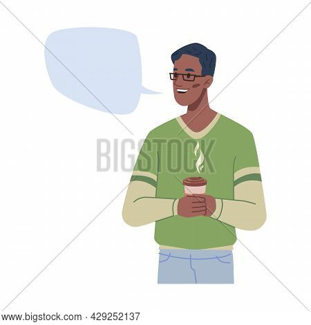 Man And Empty Speech Bubble Communication Chat Box Isolated Flat Line Illustration. Vector Dialogue
