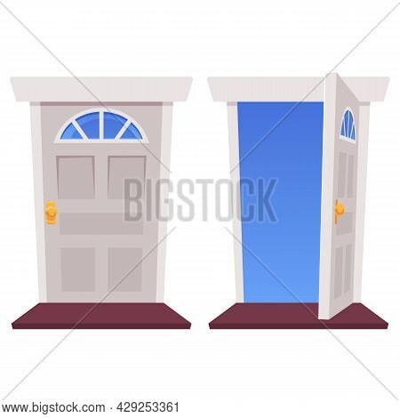 Open And Closed Entrance Doors Of House With Blue Sky In Outside Doorway.