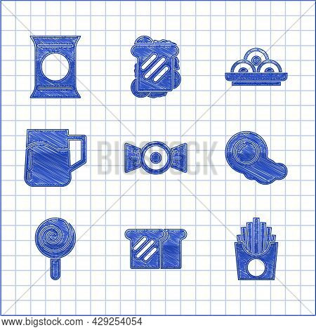 Set Candy, Bread Toast, Potatoes French Fries In Box, Scrambled Eggs, Lollipop, Wooden Beer Mug, Asi
