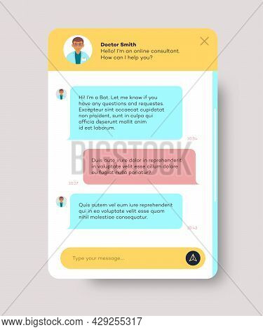 Online Doctor Chat Window For Website And Mobile App Isolated On White Background. Chat Bot, Social