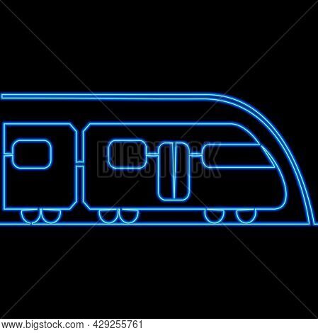 Continuous One Single Line Drawing High Speed Futuristic Modern Subway Train Icon Neon Glow Vector I