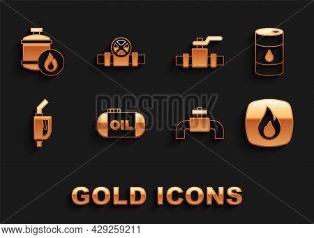 Set Oil Tank Storage, Barrel Oil, Fire Flame, Metallic Pipes And Valve, Gasoline Pump Nozzle, Propan