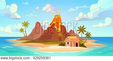 Volcanic Eruption. Natural Disaster Scene, Power Kick Hot Lava And Smoke, Island Catastrophe, Active