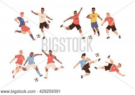 Fighting Soccer Players. Athletes Fight For Ball, Footballer Actions, Sports Team Game, People In Un