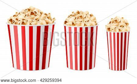 Realistic Popcorn Buckets. 3d Multiple Sizes Paper Cups, Snacks For Cinema And Circus. Large, Medium