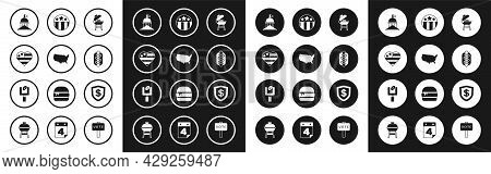 Set Barbecue Grill, Usa Map, Independence Day, White House, Hotdog Sandwich, Medal With Star, Shield
