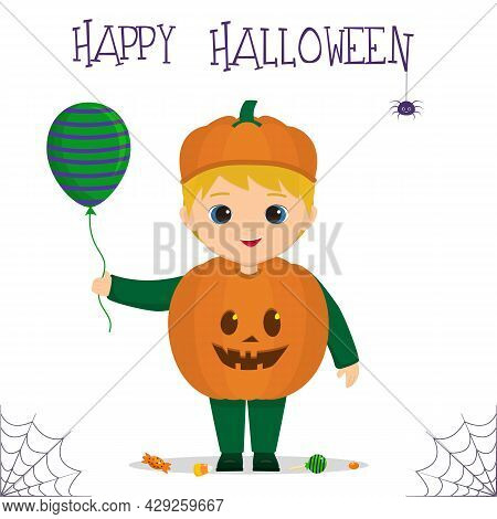 Halloween Party. A Cute Boy Dressed As A Pumpkin, Lollipops And Lollipops, A Spider And A Cobweb. Po