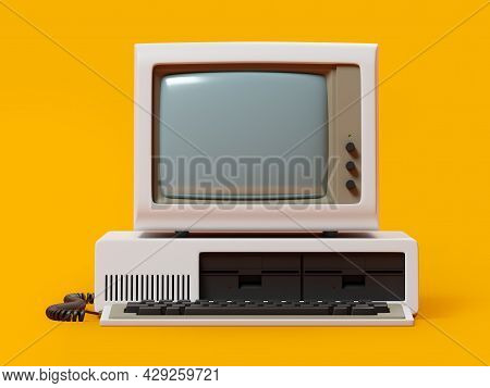 Old-fashioned Personal Computer, Front View, Vintage Style. 3d Illustration